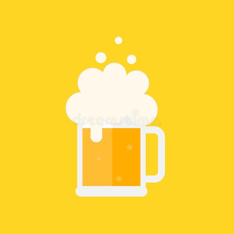 De mok van het bier met schuim vector illustratie