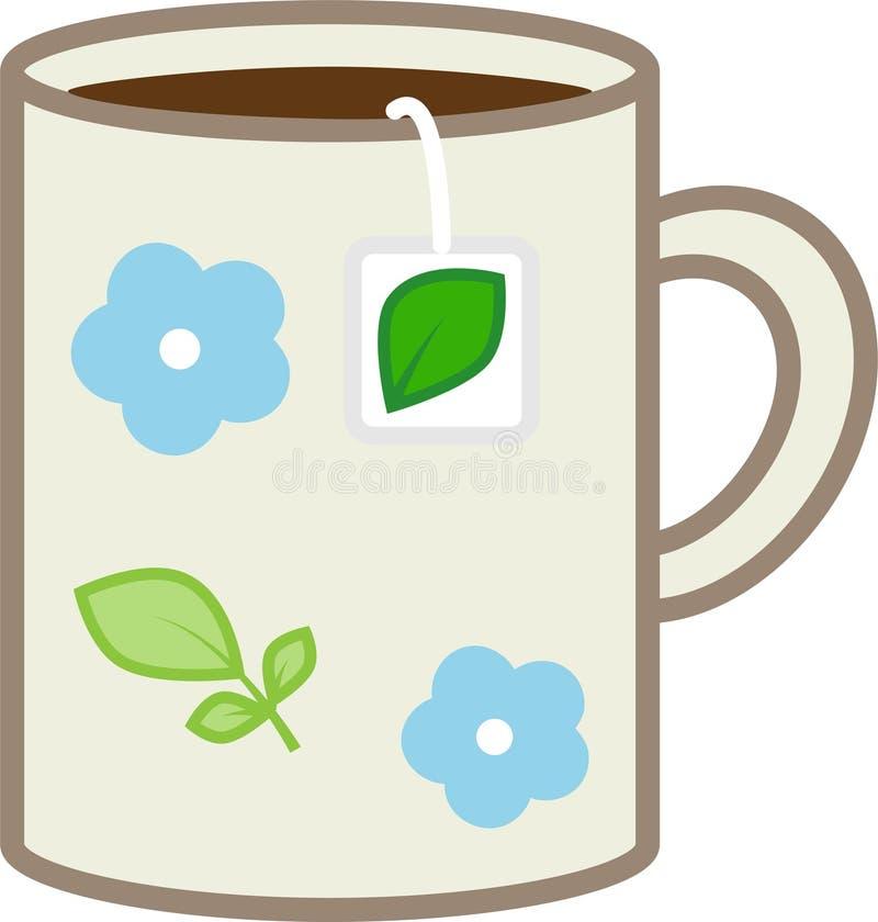 De mok van het kleurenpictogram met bloemen met hete thee in zakken stock foto