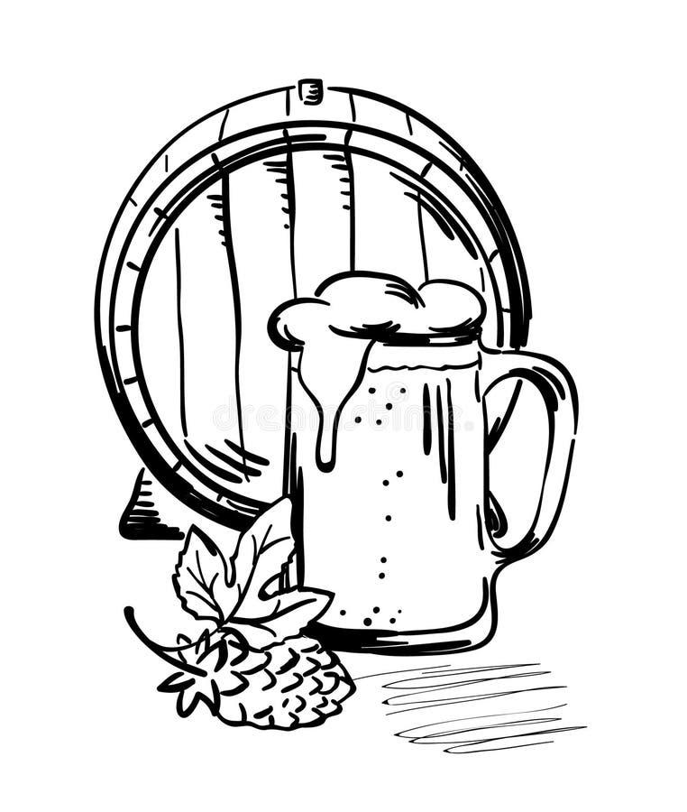 De mok van het vat en van het bier royalty-vrije illustratie