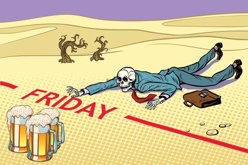 De mokken bier, de man leefden niet tot Vrijdag royalty-vrije illustratie