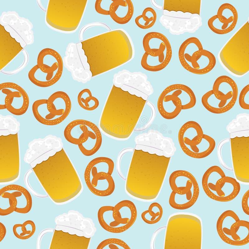 De mokken en de pretzels van het bier vector illustratie