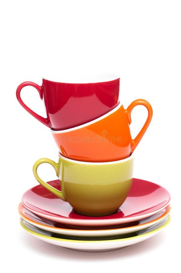 De mokken van de koffie in verticaal formaat royalty-vrije stock foto's