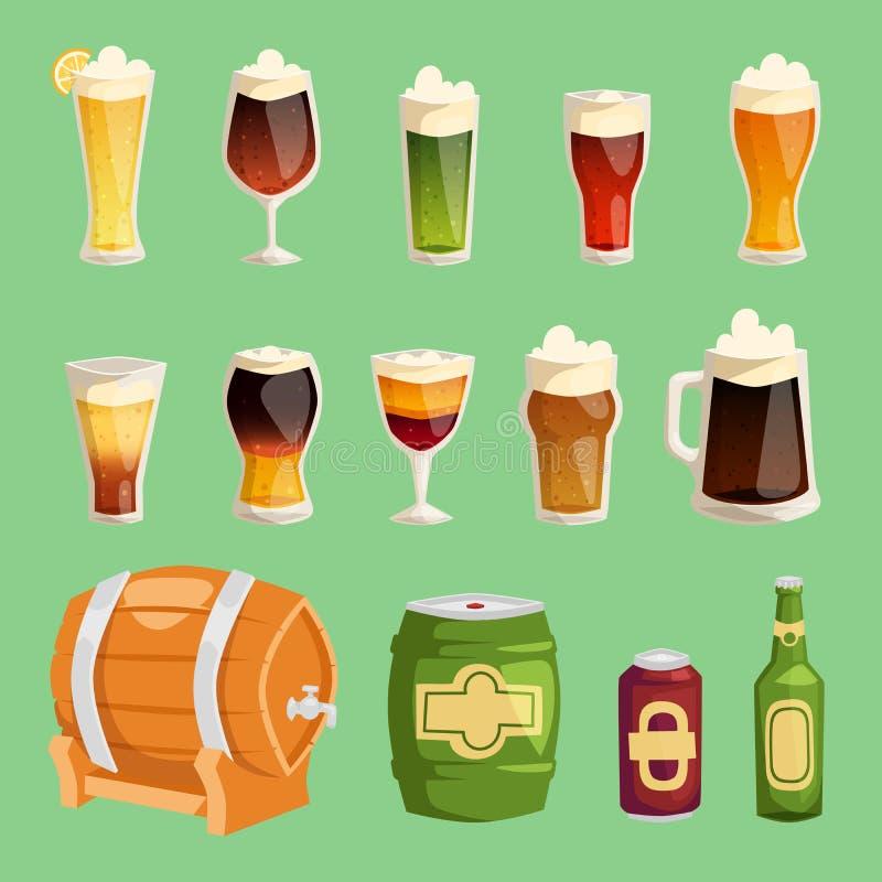 De mokkoppen van het bierbeeldverhaal vector en van glasflessen beerhouse brouwerij beermug of beerbottle en donker aal in bar op royalty-vrije illustratie