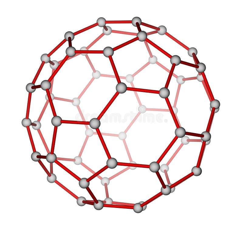 De moleculaire structuur van Fullerene C60 royalty-vrije illustratie
