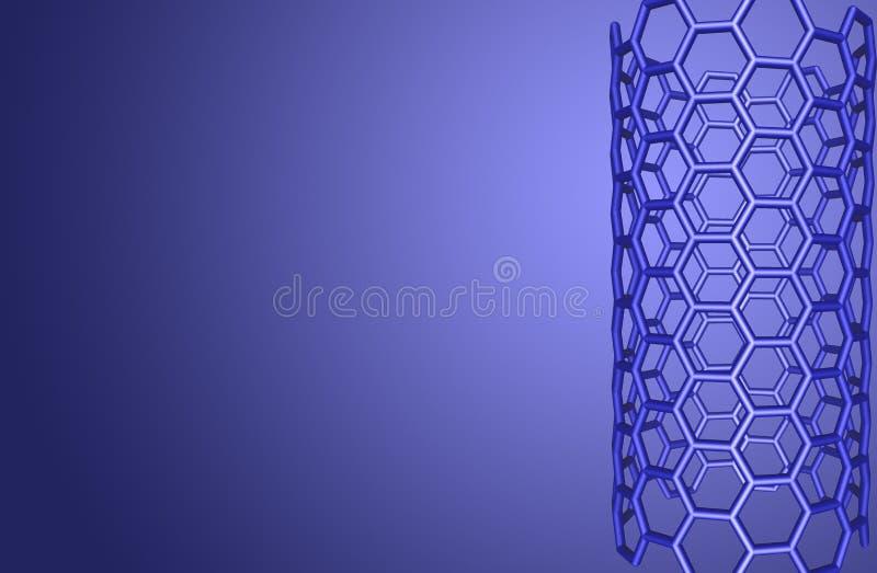 De moleculaire structuur van Nanotube op blauwe achtergrond stock illustratie