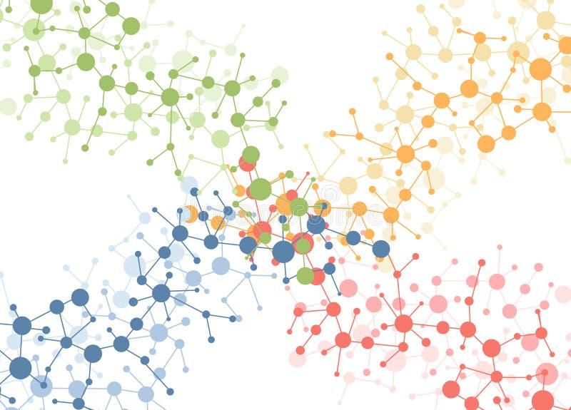 De moleculeaansluting van de kleur achtergrond royalty-vrije illustratie