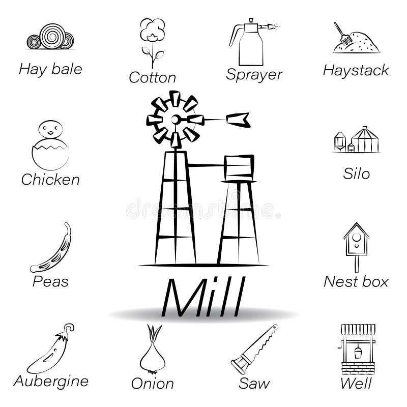 De molenhand trekt pictogram Element van de landbouw van illustratiepictogrammen De tekens en de symbolen kunnen voor Web, emblee vector illustratie
