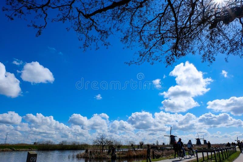 De Molens van Kinderdijk - Nederland royalty-vrije stock afbeelding