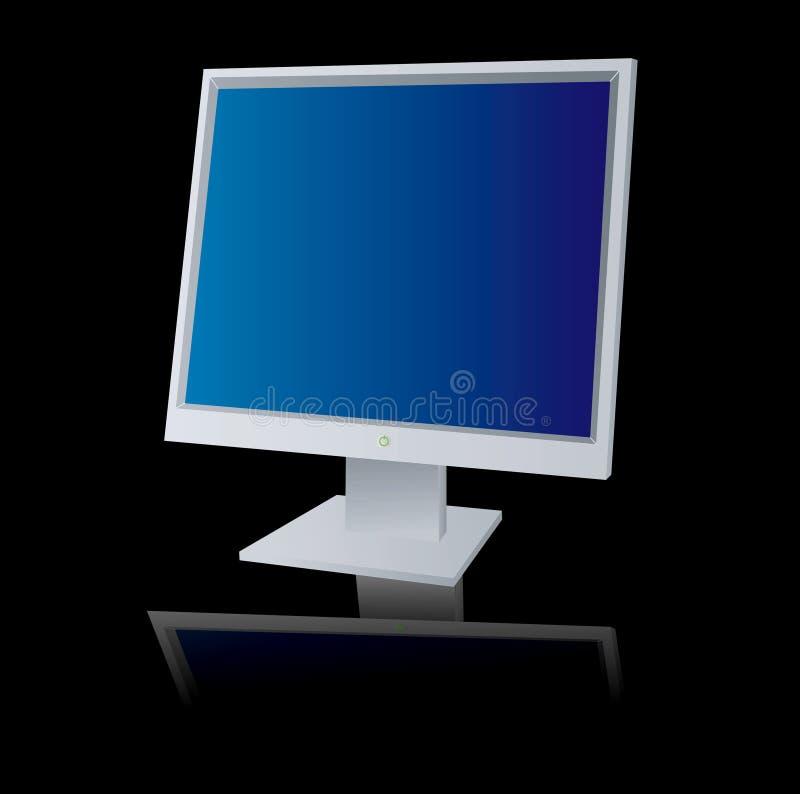 De monitor denkt na vector illustratie