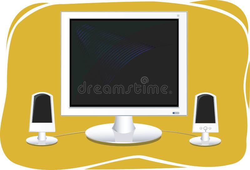 De monitor van de computer met sprekers stock illustratie