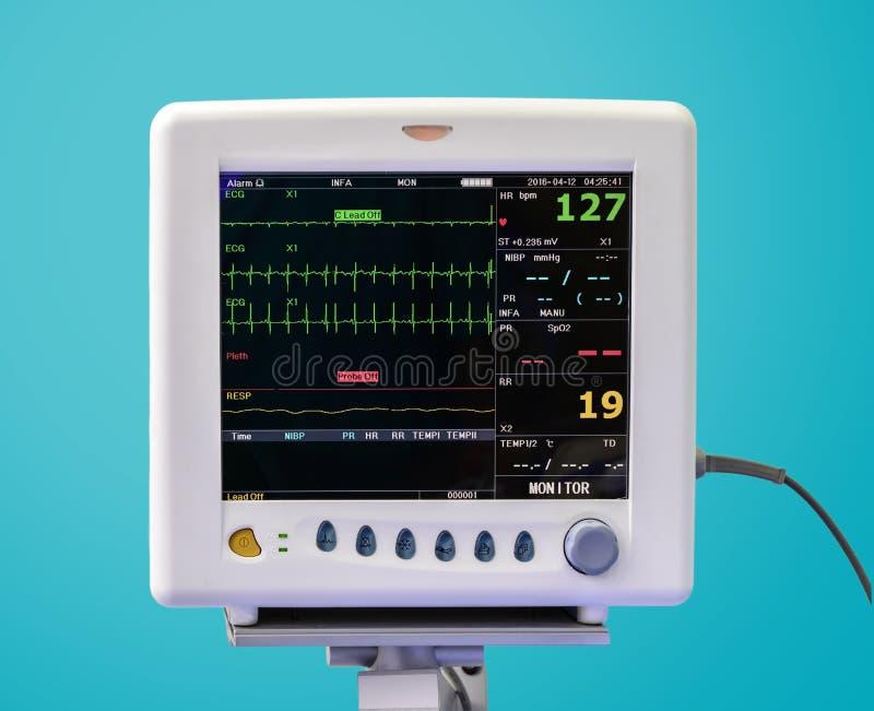 De monitor van het electrocardiogram in eenheid ICU royalty-vrije stock afbeeldingen