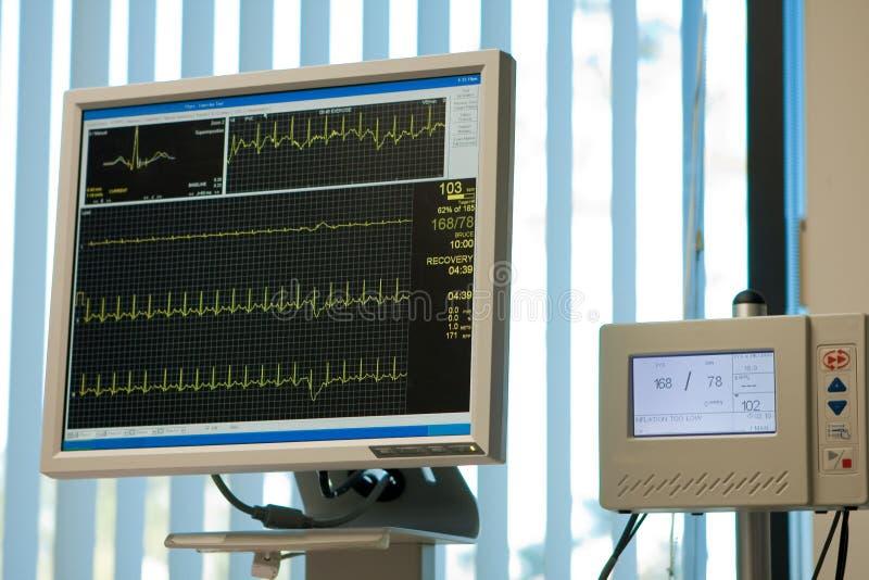 De monitor van het elektrocardiogram en bloeddruk stock foto's
