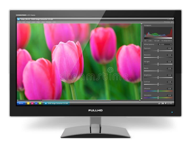 De monitor van TFT LCD met foto het uitgeven software vector illustratie
