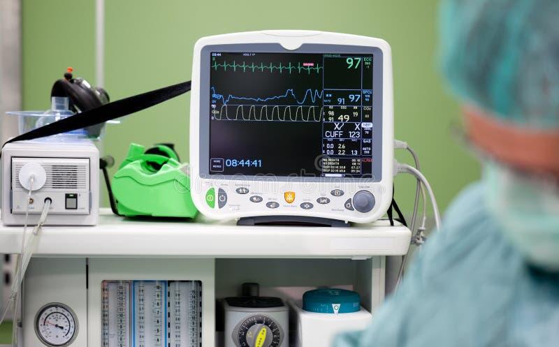 De monitorchirurgie van het cardiogram stock afbeeldingen
