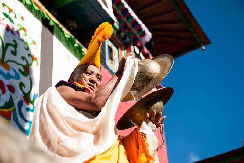 De monnik tijdens het Mani Rimdu-festival in Tengboche-Klooster stock fotografie