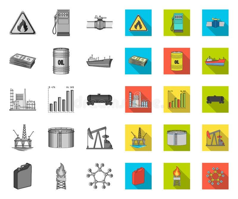 De mono, vlakke pictogrammen van de olieindustrie in vastgestelde inzameling voor ontwerp Materiaal en de voorraadweb van het oli stock illustratie