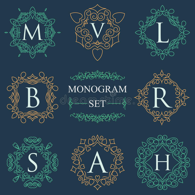 De monogramemblemen Geplaatst Grafisch Embleemmalplaatje bloeit elegante ornamentlijnen Bedrijfsteken, identiteit voor Restaurant stock illustratie