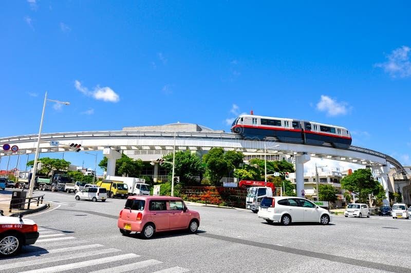 De monorail van Okinawa, Yui Rail op Shuri-gebied stock foto's