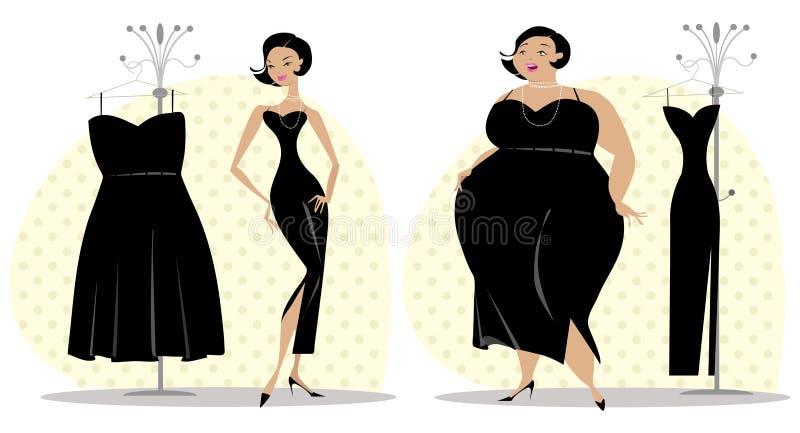 Na en vóór dieet royalty-vrije illustratie