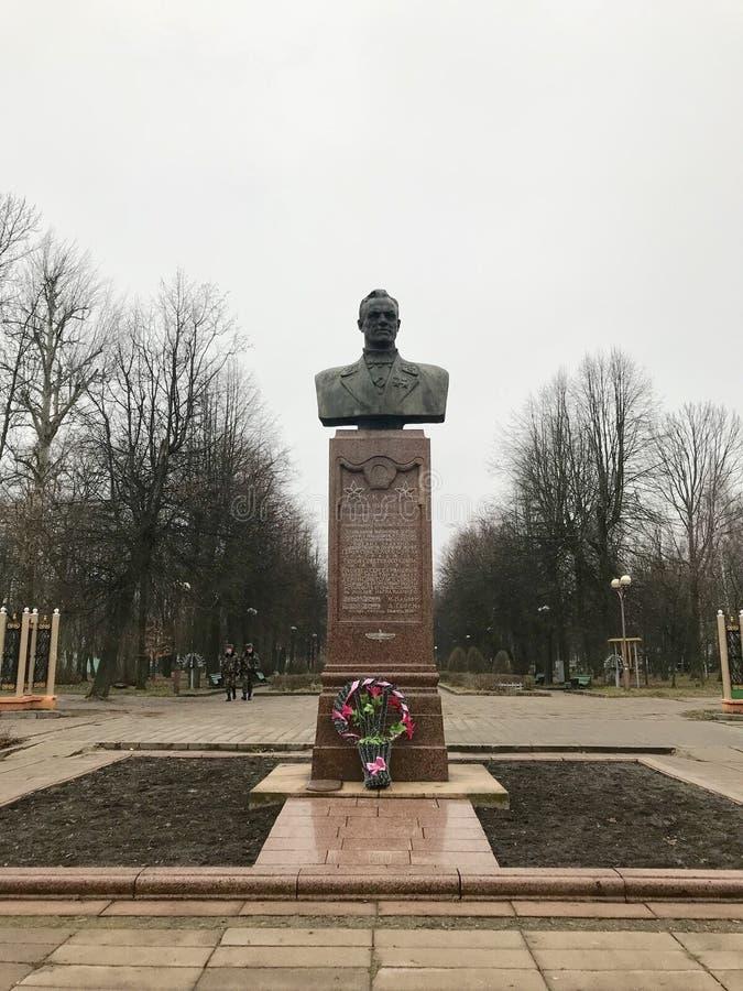 De monument héros deux fois de l'Union Soviétique Gritsevets Baranovichi, Belarus image libre de droits
