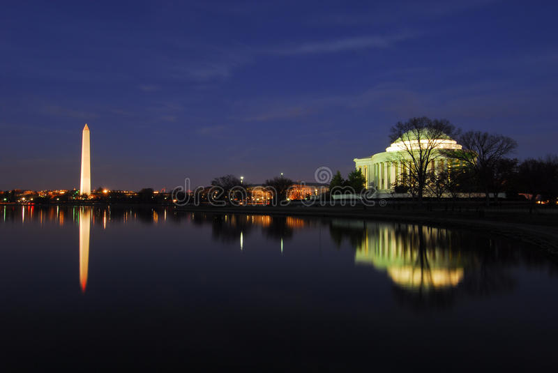 De Monumenten Nightscape van Washington D.C. royalty-vrije stock foto's
