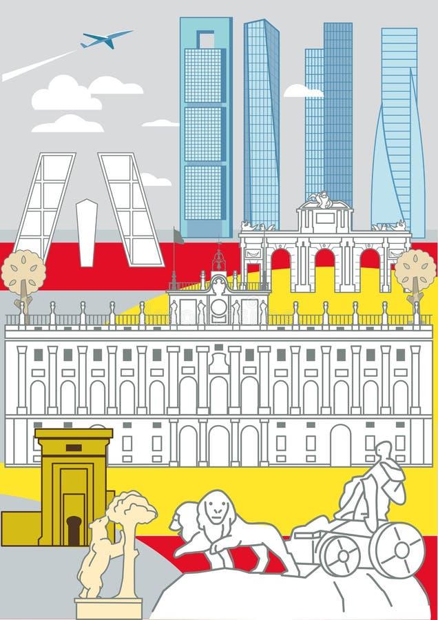 De Monumenten van Madrid stock illustratie