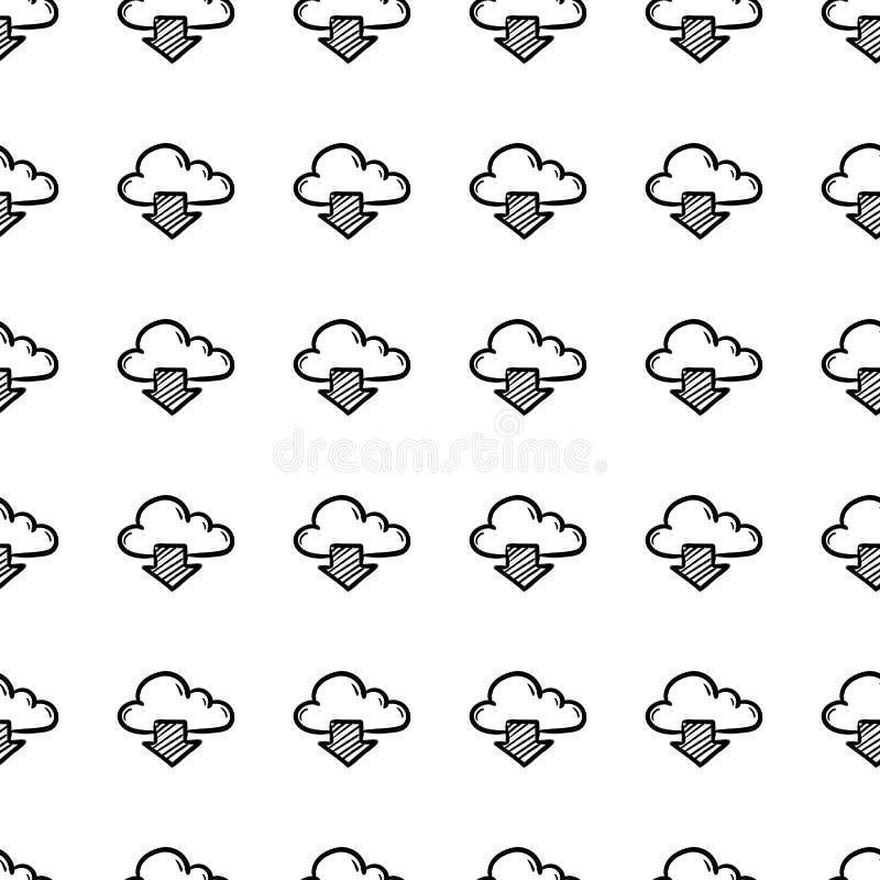 De mooi hand getrokken wolk van het manier naadloos patroon en pijlpictogram Hand getrokken zwarte schets Teken/symbool/krabbel g vector illustratie