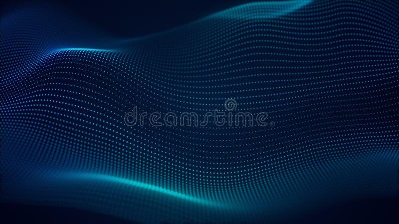 De mooie abstracte achtergrond van de golftechnologie met blauw licht digitaal collectief concept royalty-vrije illustratie