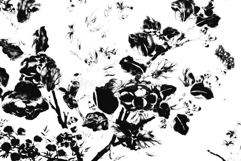 De mooie abstracte zwart-witte textuur de de boombladeren en vogels op witte muur isoleerde patroonachtergrond en behang vector illustratie