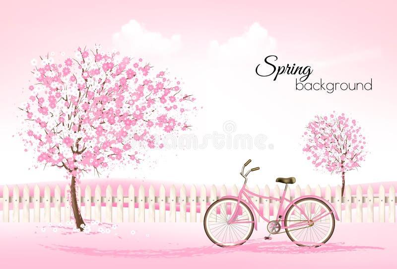De mooie achtergrond van de de lenteaard met tot bloei komende bomen stock illustratie