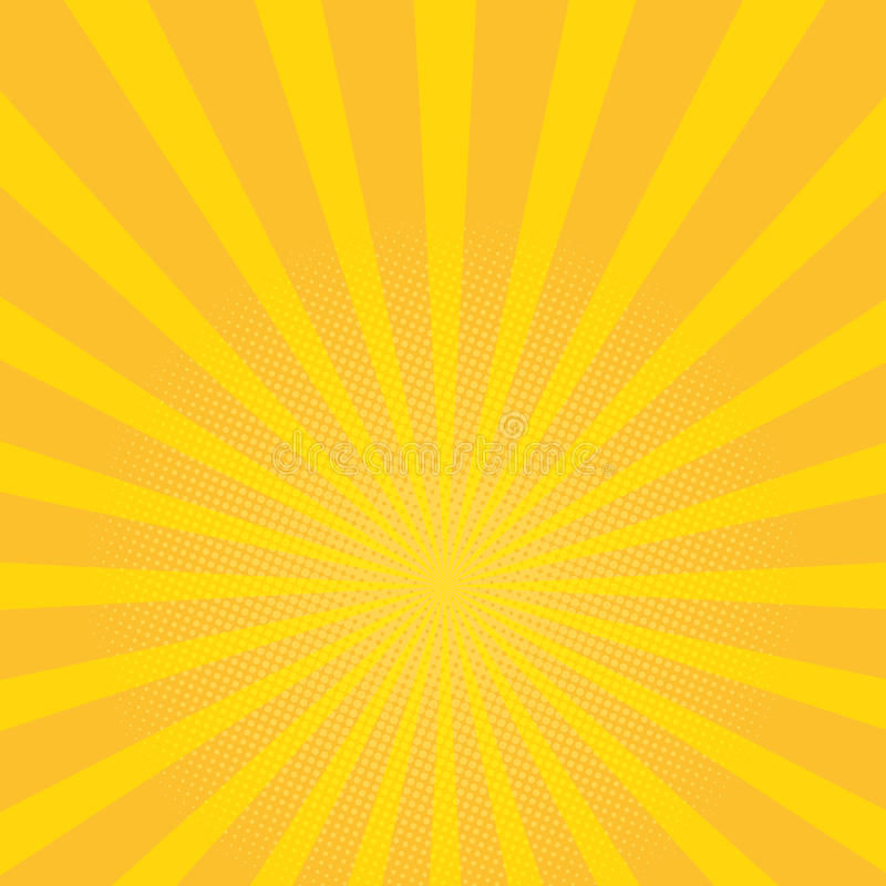 De mooie achtergrond van de de zomerzonnestraal De gele achtergrond van het stralenpop-art Retro vectorillustratie vector illustratie