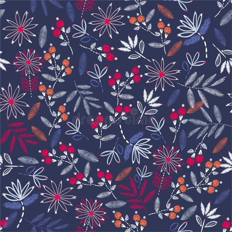 De mooie achtergrond van de de handsteek van de borduurwerk uitstekende stemming Traditioneel bloeiend borduurwerk vectorillustra royalty-vrije illustratie