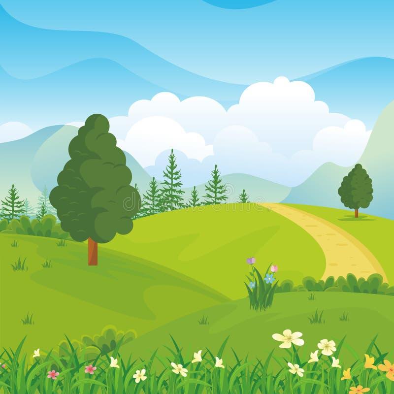De mooie achtergrond van het de Lentelandschap met beeldverhaalstijl stock illustratie