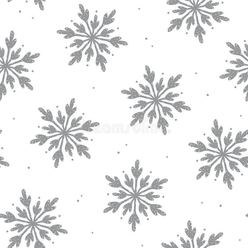 De mooie achtergrond van het sneeuwvlok naadloze patroon stock illustratie