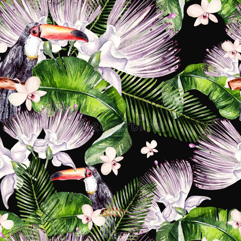 De mooie achtergrond van het waterverf naadloze, tropische patroon met palmbladen, bloem van tukan rozen, kappertjes en vogel stock illustratie
