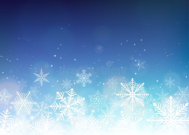 De mooie achtergrond van Kerstmis De blauwe achtergrond van de winterkerstmis vector illustratie