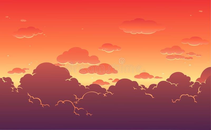 De mooie achtergrond van de zonsonderganghemel Vector illustratie royalty-vrije illustratie