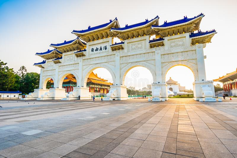 De mooie architectuurbouw en ori?ntatiepunt chiang kai-shek herdenkingszaal in de stad van Taipeh royalty-vrije stock afbeelding