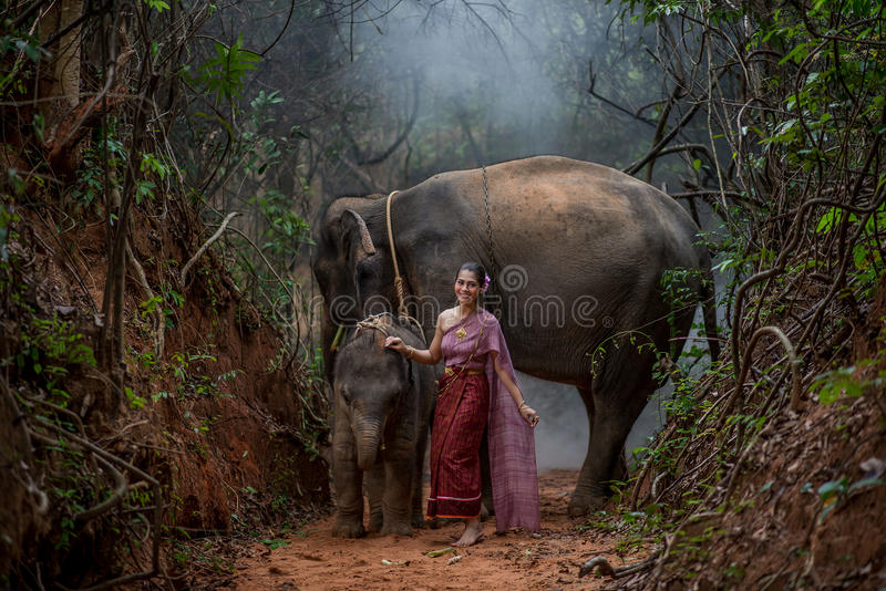 De mooie Aziatische Vrouw draagt Thaise kleding met haar olifant, elepha royalty-vrije stock foto