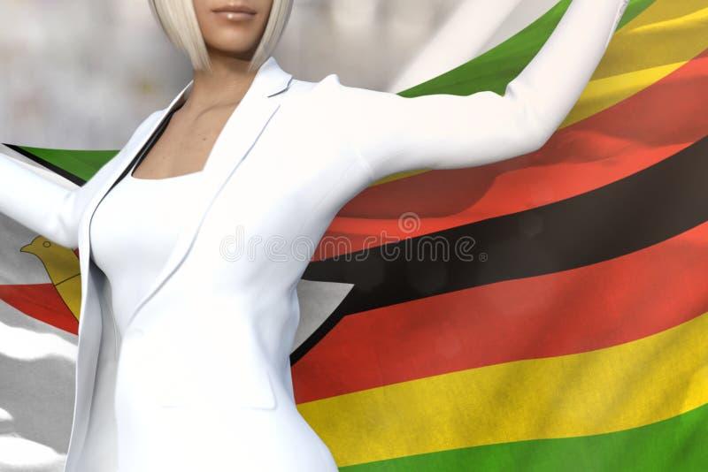 De mooie bedrijfsvrouw houdt de vlag van Zimbabwe terug in handen achter haar op de de bureaubouw achtergrond - markeer 3d concep royalty-vrije illustratie