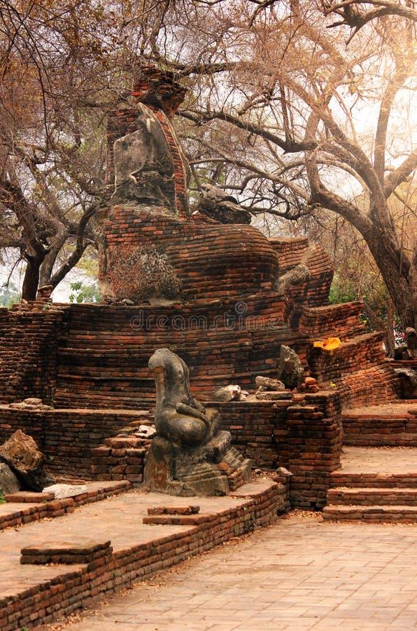 De mooie beeldhouwwerken van Boedha in de steen en baksteenru?nes van de historische tempel van Wat Phra Sri Sanphet Ayutthaya, T stock fotografie