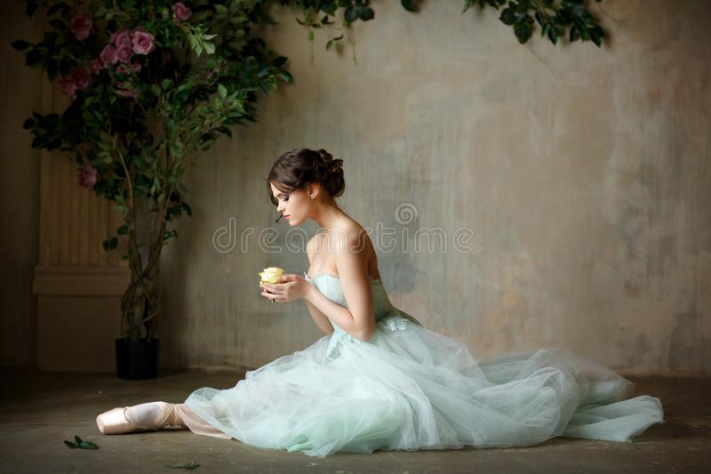 De mooie bevallige meisjesballerina in een luchtkleding en pointe zit stock foto's