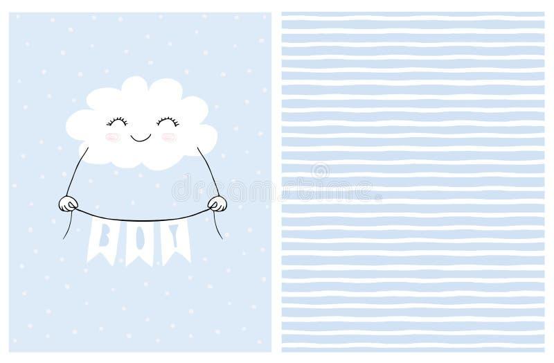 De mooie Blauwe Vectorkaart van de Babydouche Het glimlachen van Witte Pluizige Wolk die een Banner met de Inschrijvingsjongen ho stock illustratie