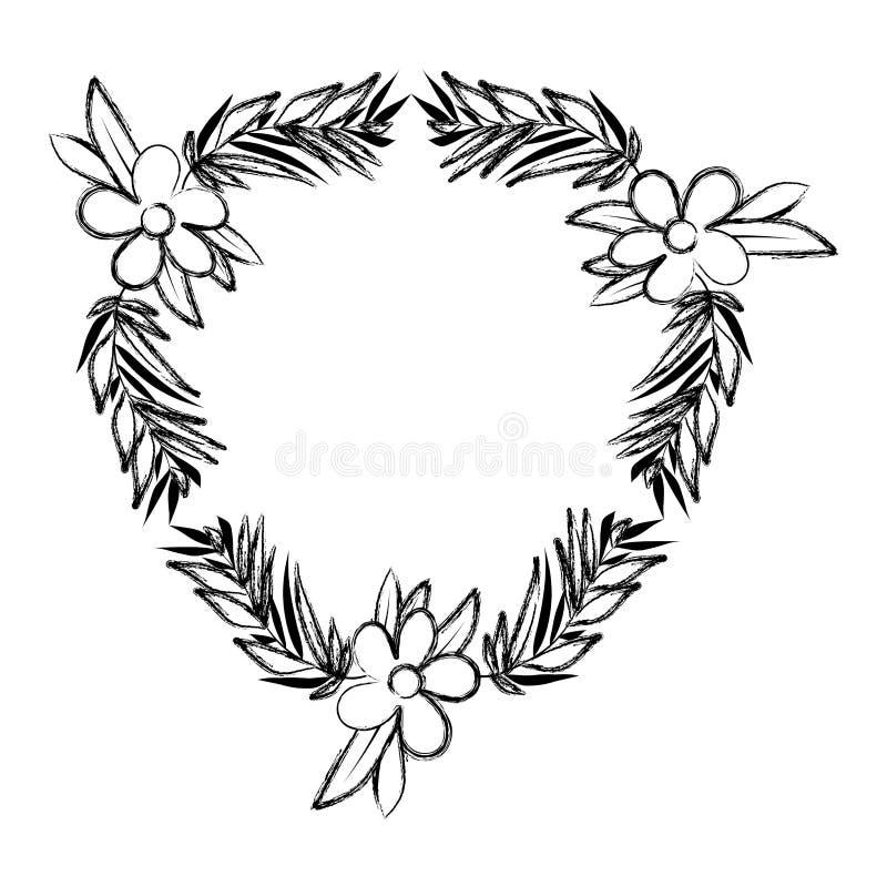 De mooie bloem en doorbladert kader vector illustratie