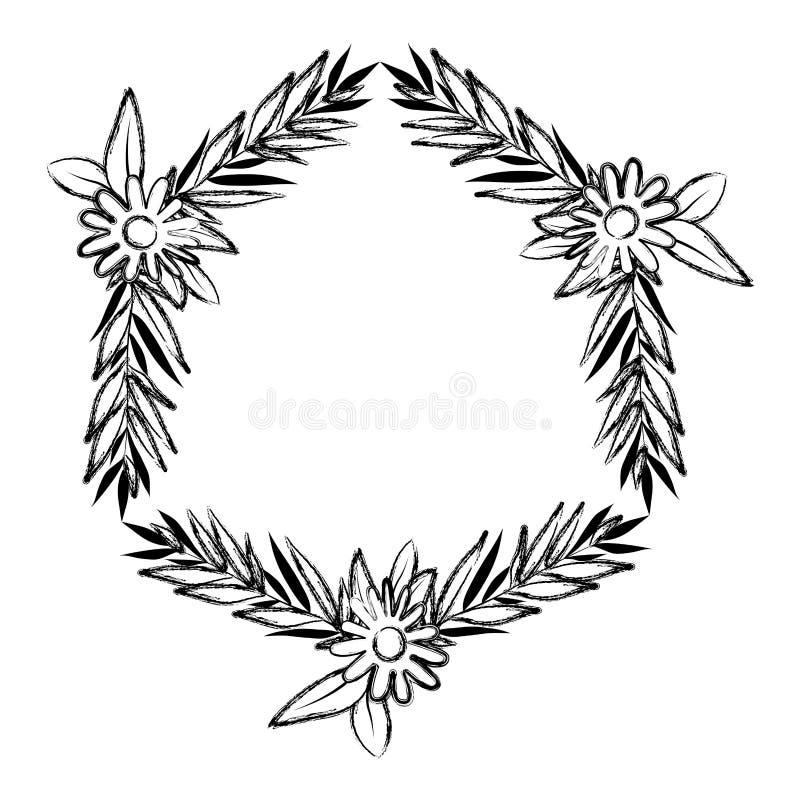 De mooie bloem en doorbladert kader stock illustratie