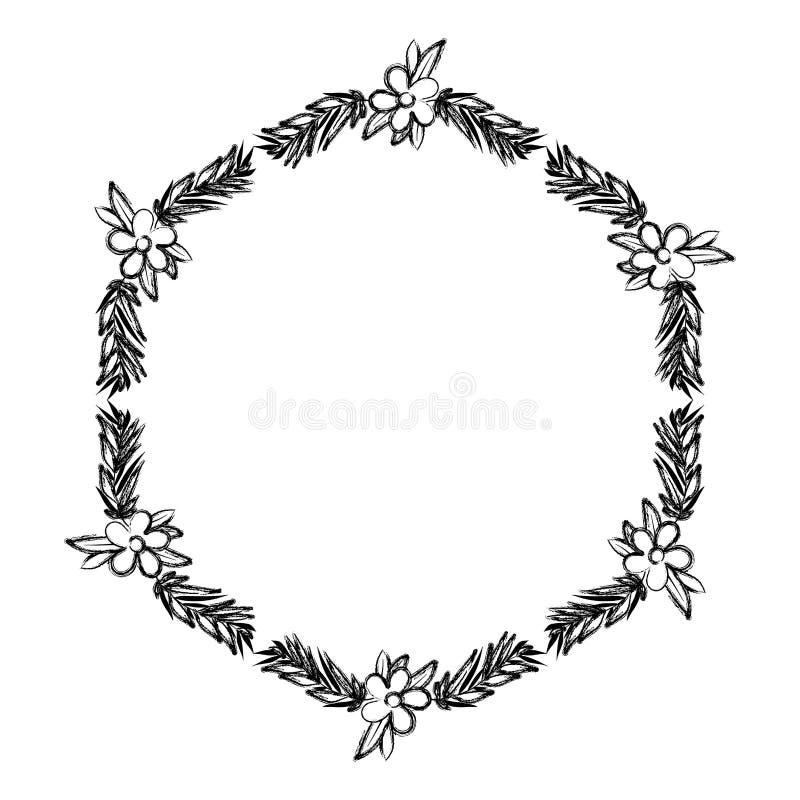 De mooie bloem en doorbladert kader royalty-vrije illustratie