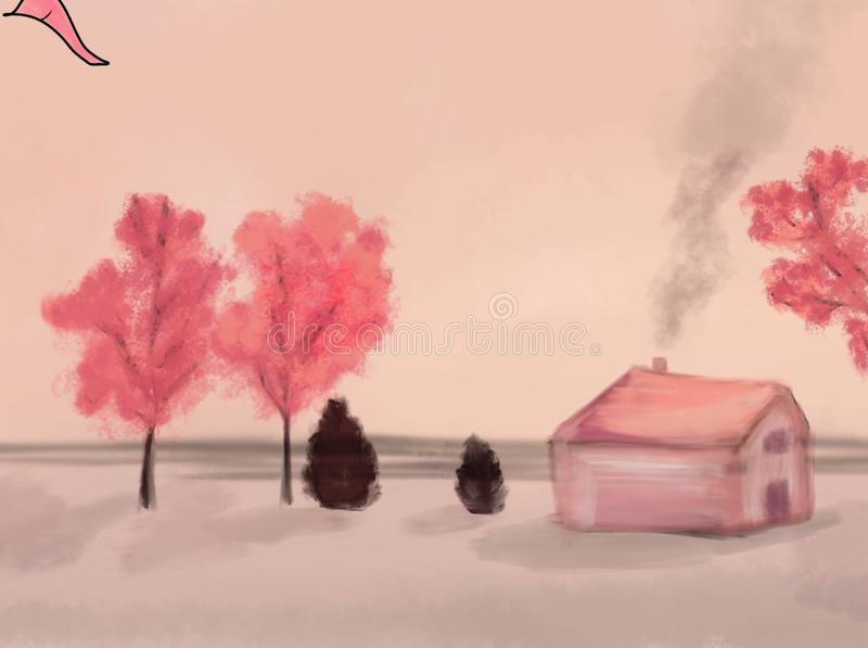 De mooie bomen van het scènehuis en roze hemel royalty-vrije stock fotografie