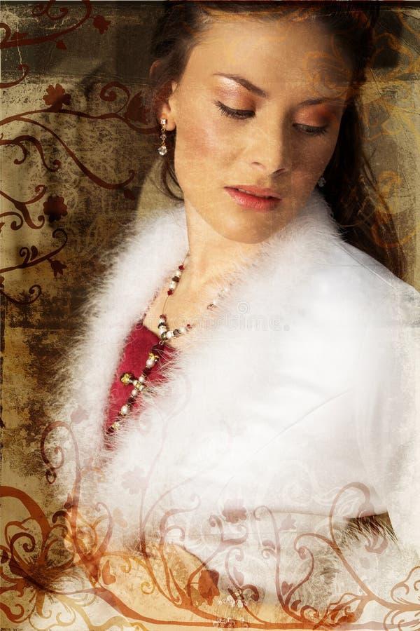 De mooie bruid van Grunge in rood stock foto's