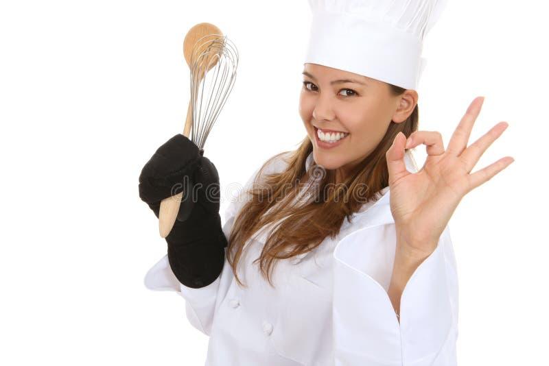 De mooie Chef-kok van de Vrouw stock afbeelding