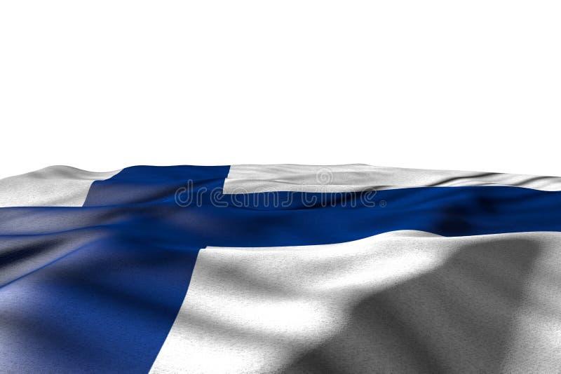 De mooie 3d illustratie van de nationale feestdagvlag - die het modelbeeld van de vlag van Finland ligt met perspectiefmening op  vector illustratie